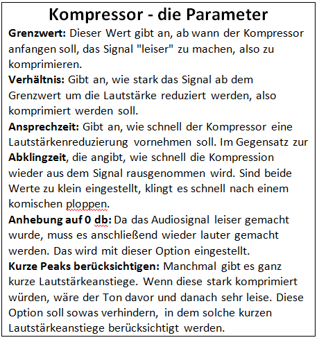 Kompressor - Parameter