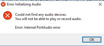[Audacity] Windows 10: No Audio devices found