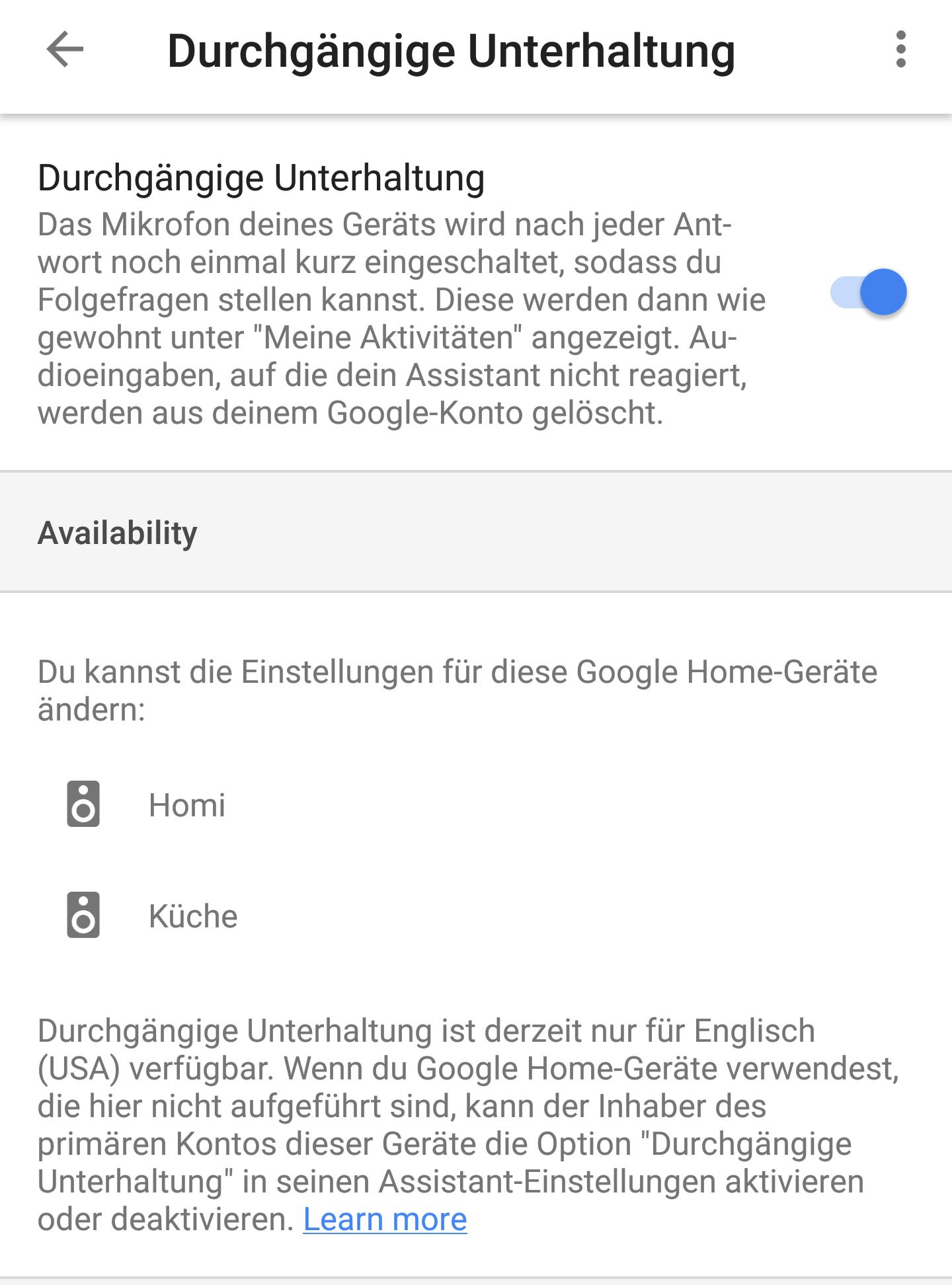 Durchgängige Unterhaltung auf Google Home