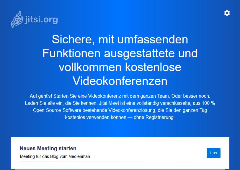 Freier jitsi-Server für Videokonferenzen