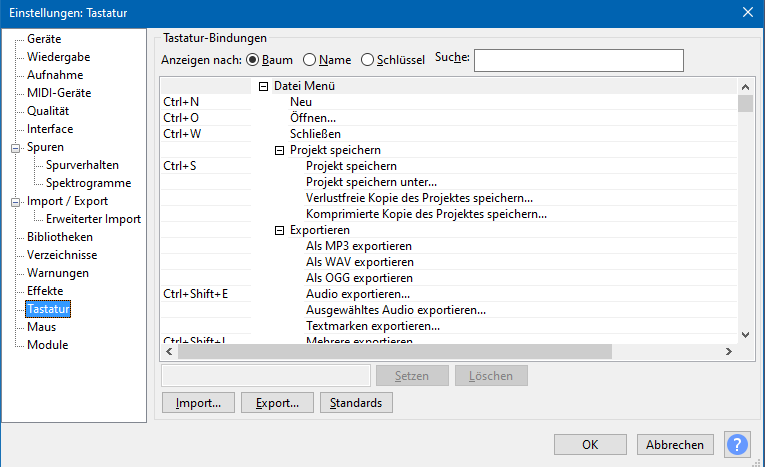 """Der Einstellunsdialog von Audacity. Hier ausgewählt ist der Eintrag """"Tastatur"""". Zu sehen ist die Liste der Shortcuts und welche Funktion dahinter liegt."""