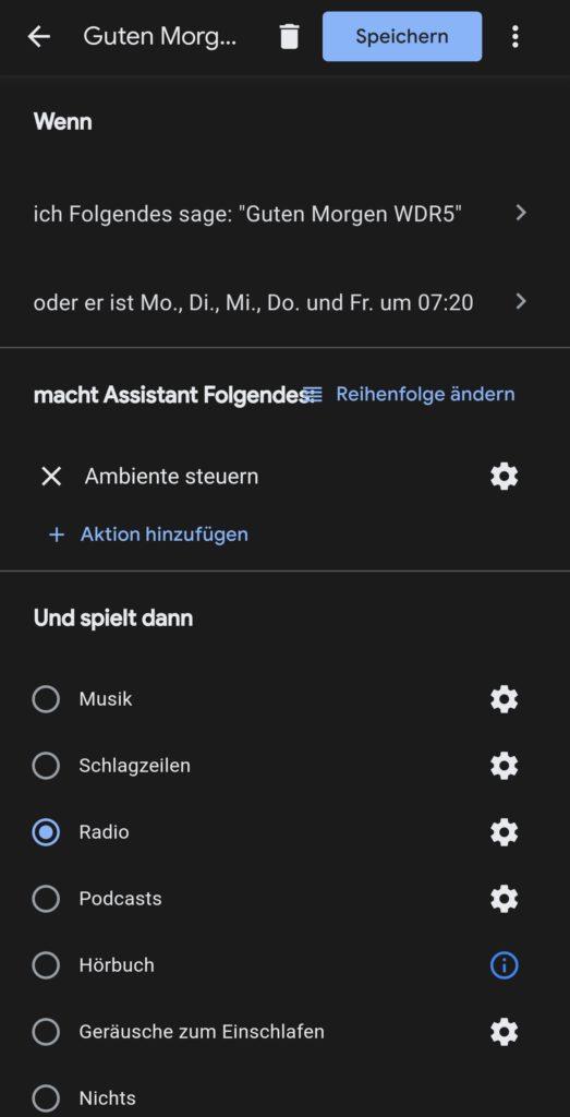 Zeiteinstellung in der Google Home-App zu den Abläufen