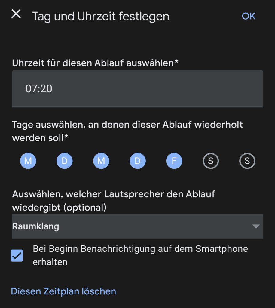 Zeitsteuerung eines Ablaufs in der Google-Home-App